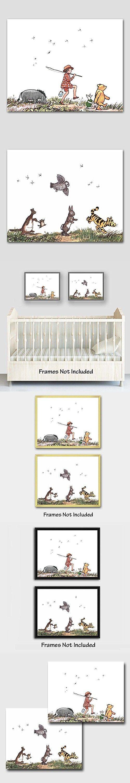"(Set of 2) Classic Pooh Nursery Wall Art (Winnie the Pooh Decor, Baby Room Prints) ""Animal Parade"" -- Unframed"