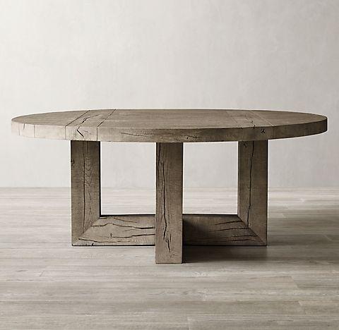 Aspen French Oak Round Dining Table Light Grey Oak Rh Dining Table Rustic Round Table Dining Table Lighting