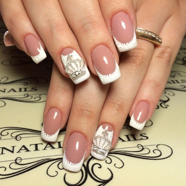 Crown nails, Delicate nails, Dimension nails, Elegant nails, Embossed nails, French manicure design, french manicure news 2016, French manicure with pattern