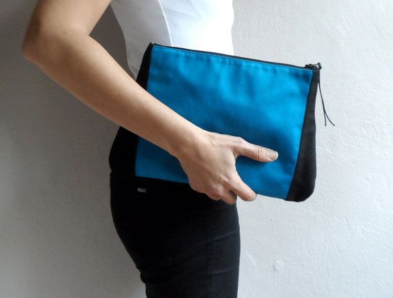 Blue Black Colorblock Clutch by ShebboDesign on Etsy, $29.00