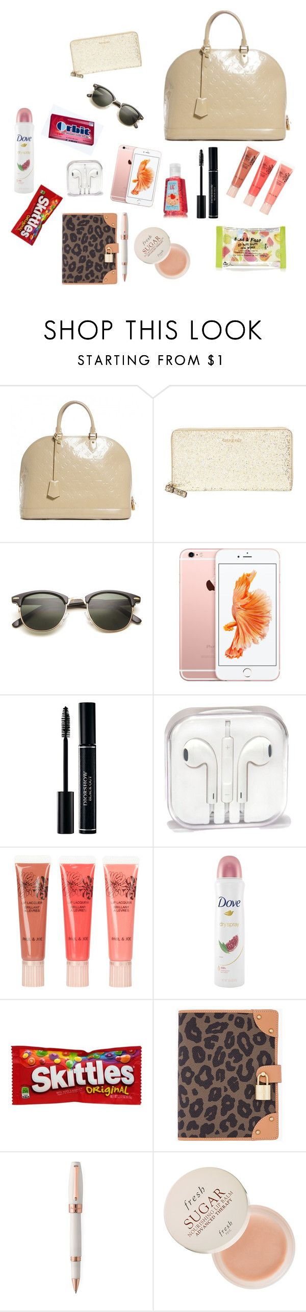 Whats In My Purse!  by polygurl-624 ❤ liked on Polyvore featuring moda, Louis Vuitton, Kate Spade, Paul  Joe, Dove, Mulberry, Montegrappa, Fresh, Topshop e womens clothing