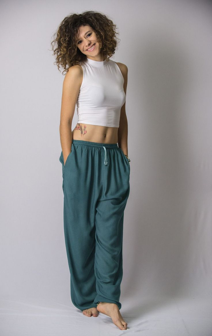 Solid Color Drawstring Women's Yoga Massage Pants in Dark Teal