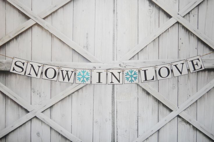SNOW in LOVE with this winter wedding banner with glitter snowflakes. Customize in your colors. By MementoBannerCompany on Etsy