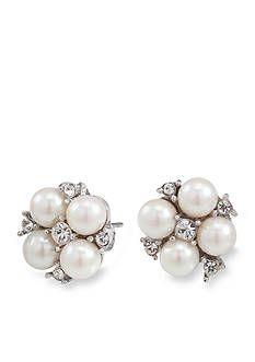 Carolee Floral Motif Pearl and Crystal Stud Pierced Earrings