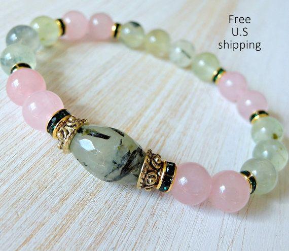 Prehnita, cuarzo rosa, piedra preciosa pulsera, mala, pulsera de Yoga, meditación pulsera, Reiki, sanación, amor incondicional,