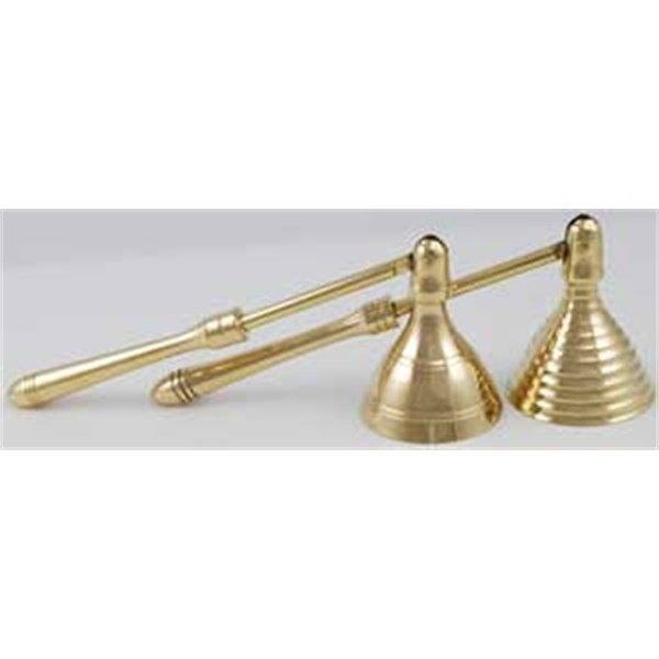 """Wonderfully sculpted of brass, this small candle snuffer is perfect for those who wish to keep their altar tools hidden away or those who just dont quite have the space for larger and more cumbersome materials.  Its handle is 4 1/4"""" long and ends in a hinge that allows the 1 1/2"""" diameter bell at the end to swivel as it is lowered to snuff out your candles flame."""