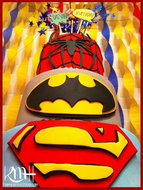 Superhero Birthday Party, 3-Tier Cake