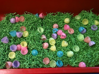 Gotta make these....Plastic eggs used for matching...make words, contractions, addition/subtraction/multiplication facts, etc. Be sure to include the grass to lay the eggs in. :) Thanks to Marsha at DifferentiatedKindergarten.blogspot.com