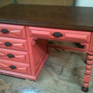 Coral painted distressed desk. Refurbished and refinished furniture projects.