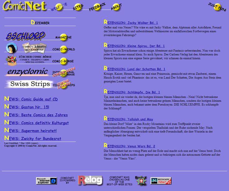 ComicNet website in 1996