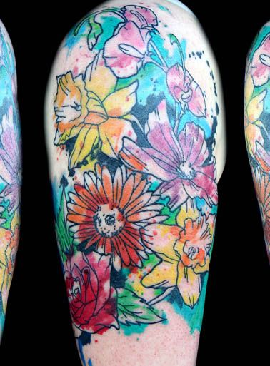 watercolor flower tattoo tatoos pinterest watercolor flower tattoos watercolor flowers. Black Bedroom Furniture Sets. Home Design Ideas