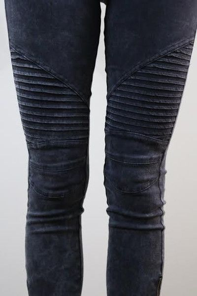 Our Moto Jeggings have an edgy ankle zipper detail and a thick elastic waistband. Great fit and good stretch with unique ribbed detail on the knee. Each color variation is different, as they are hand-