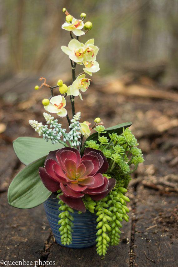 Succulent Arrangement , Faux Succulents in Blue Pottery , Succulent Bokay for Table , Summer Orchid Arrangement , Artificial Succulents