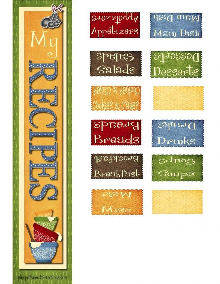 Recipe Book Dividers | Pink Polka Dot Creations