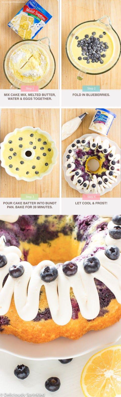 Lemon Blueberry Bundt Cake Recipe   Ingredients     1 box Pillsbury™ Moist Supreme® Lemon Premium Cake Mix  1/2 (1 stick) cup melted butt...