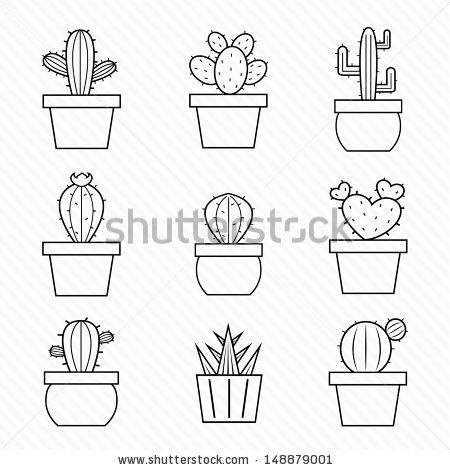 Set of vector cactus icons on white background