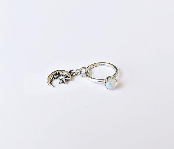 Mond Bauchnabel Ring Sterling Silber, Mondstein Bauchnabel Ring, Stern Bauchnabel Hoop, Mond gehen   – Products