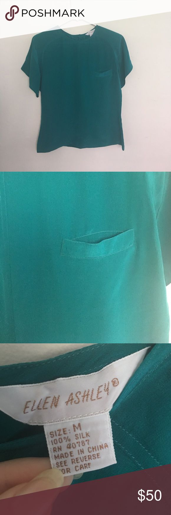 100% Silk Dark Turquoise Blouse Beautiful color, perfect for summer, Thin and airy, 100% silk, Size M, has small pocket on front, rarely worn Tops Blouses