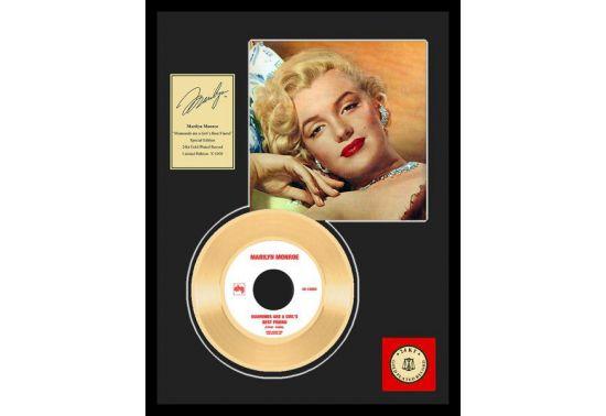 """MARILYN MONROE """"DIAMONDS"""" Disque d'or 24CT avec encadrement en verre Dimensions 31 cm x 41 cm"""