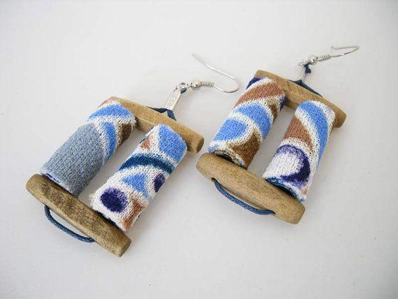 double blues fabric bead earrings blue light blue white by Joogr, €14.00