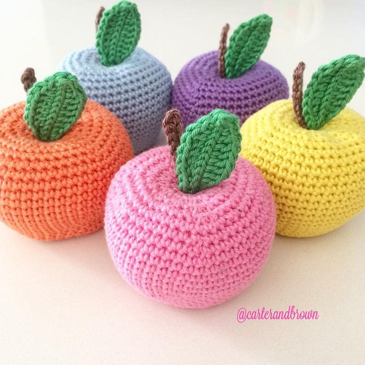 Fun coloured apples #crochet #apple #fruit #craftastherapy