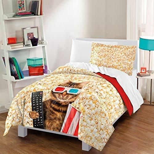 Beige Brown Red Blue Cat At Movies Theme Comforter Twin Set Animal Graphic Kitty His Remote Popcorn Container 3 D Glasses Popcorns Kids Bedding Teen Bedroom Cotton