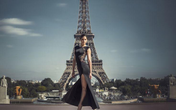 платье, эйфелева башня, девушка, париж