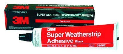 3M 08008 Black Super Weatherstrip Adhesive Tube - 5 oz. by 3M. $11.99. A strong, flexible, rubbery adhesive that can withstand vibration and extreme temperature variations. It can be used to bond automotive weather stripping and is a great adhesive for holding paper, cork or rubber gaskets in place during installation.