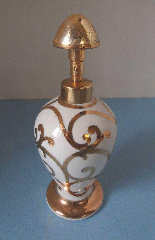 Irice Hand-Painted White & Gold Perfume Bottle