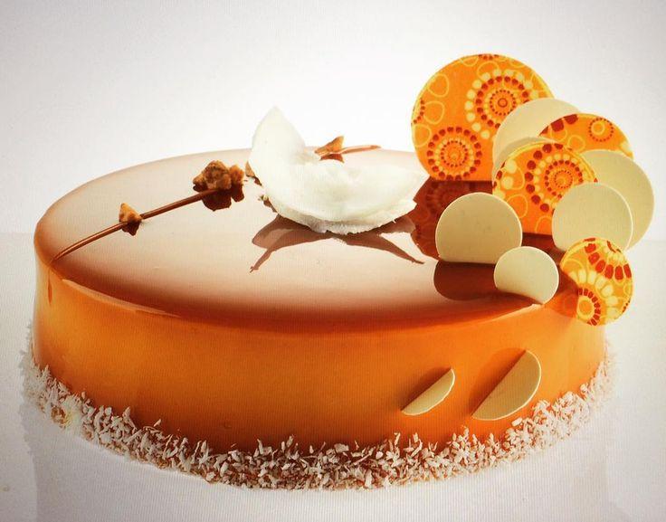 «Caramelia chocolate, coconut, mango/orange cake..... Think Pastry by Michel Willaume»
