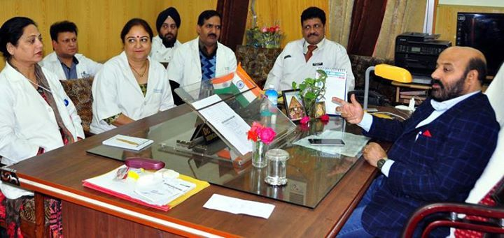 Minister for Health & Medical Education Bali Bhagat chairing a meeting at Jammu.