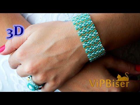 Beaded Bracelet Turquoise. 3D Beading Tutorial - YouTube