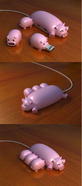 Este USB Hub esta increible - via @TeVeoGeek #design: Piglets, Ideas, Usb Driving, Funny, Pigs Usb, Flash Driving, Piggy Usb, Usb Hub, Products