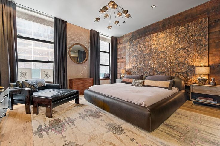 Contemporary Master Bedroom with High ceiling, Carpet, interior wallpaper, Hardwood floors, Window seat, Chandelier