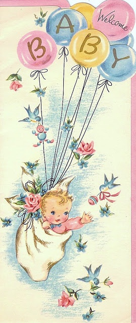 Welcome Baby! ~ Vintage card