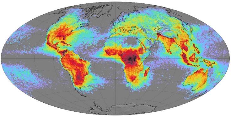 World lightning map by NASA.