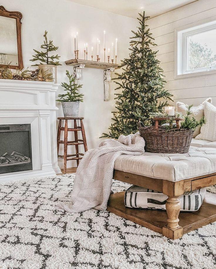 Christmas Decor In 2020 Farmhouse Christmas Decor Christmas Decorations Living Room Christmas Room