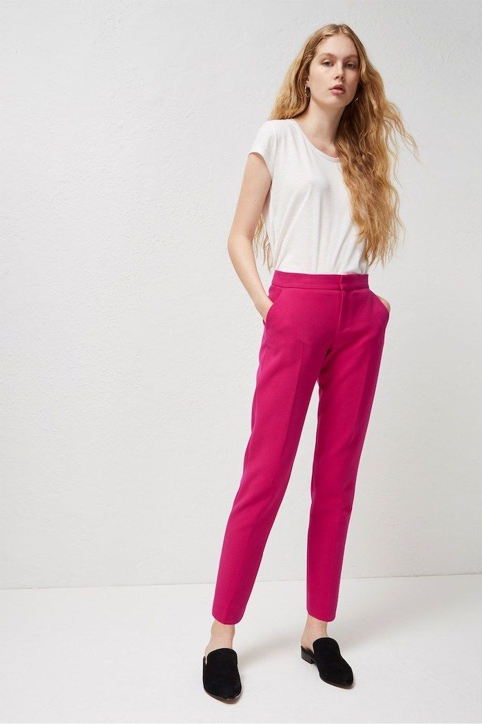 010dde32e6 hot pink trousers, black loafers, business casual attire, white short, long  blonde hair