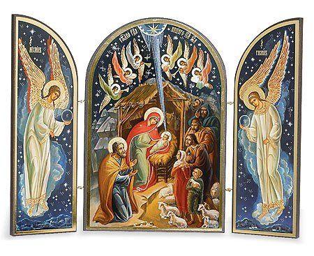 AmazonSmile - Catholic Orthodox Wood Nativity Scene Triptych Russian Icon Christ Virgin Mary Nativity of Christ - Nativity Figurine Sets