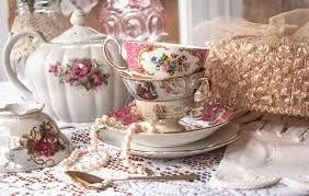 vintage tea table setting