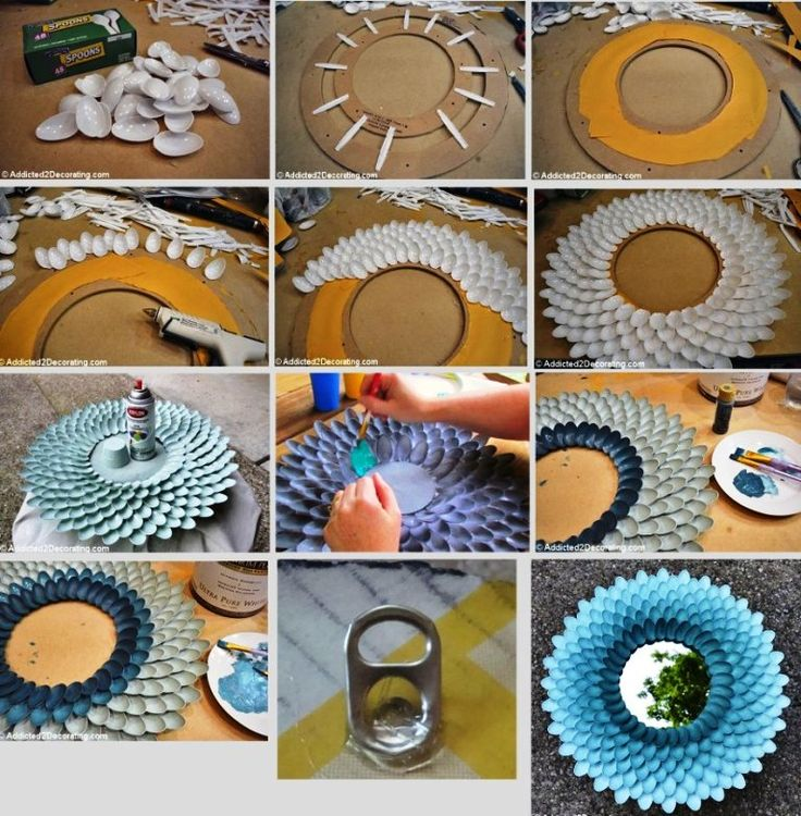 Mirror of recycle materials crafts with plastic spoons for Creative ideas of waste material