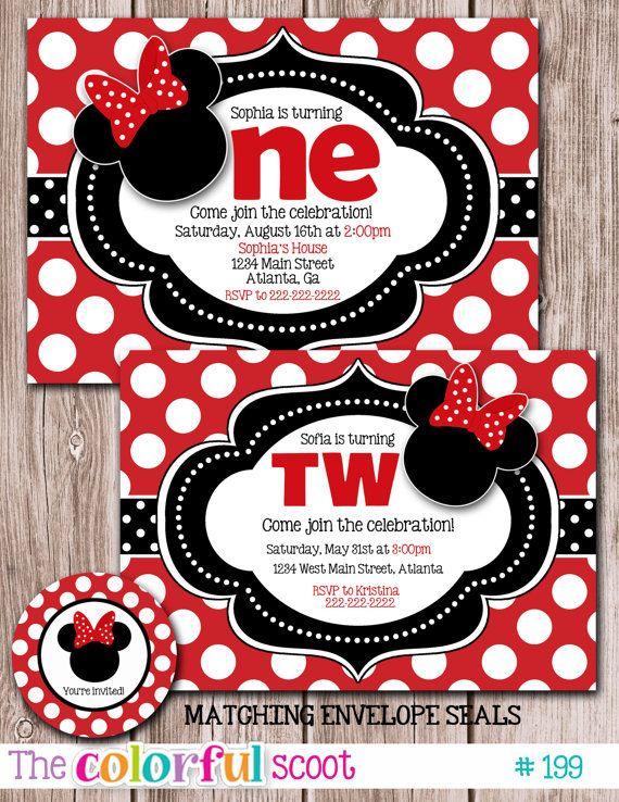 Minnie Mouse Birthday Invitation, Birthday Invite, Birthday Invitation, Minnie, Red (#199)