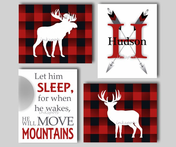 Moose Nursery Art - Red Black Buffalo Check Art - Woodland Nursery Art - Let Him Sleep Print - Baby Boy Nursery Art - Deer Print - LO4703 by inkspotsgallery on Etsy https://www.etsy.com/listing/493359905/moose-nursery-art-red-black-buffalo