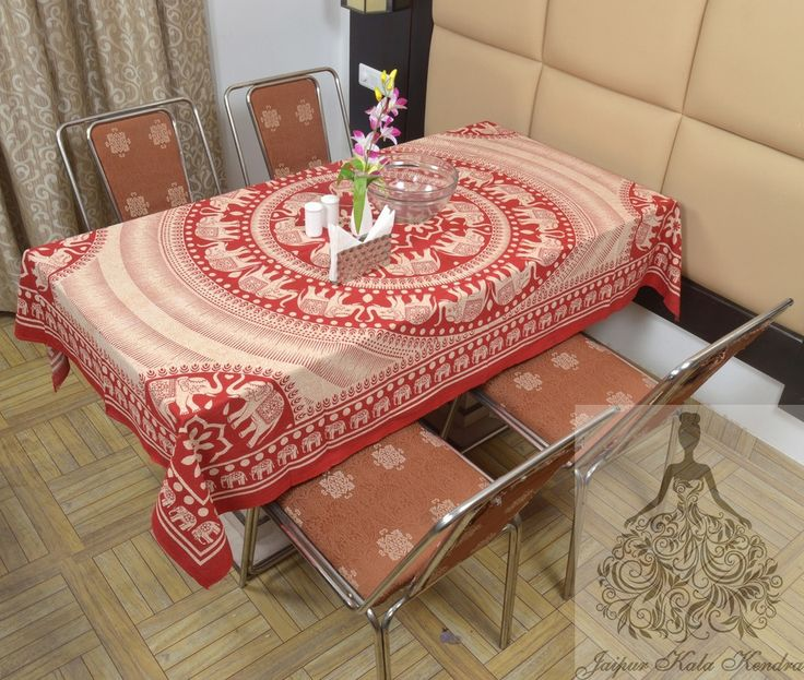 Indian Cotton Table Cloth Cream Color Mandala Elephants