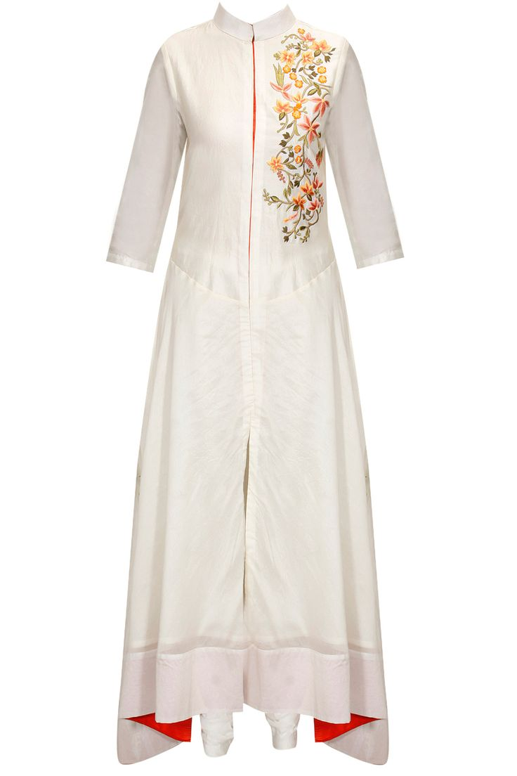 White floral embroidered panel front open dress available only at Pernia's Pop-Up Shop.
