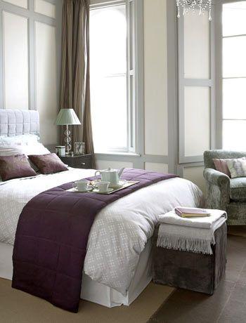purple & gray adds drama & contrastDreams Bedrooms, Guest Room, Grey Bedrooms, Guest Bedrooms, Colors Schemes, Master Bedrooms, Grey Room, Purple Bedrooms, Bedrooms Ideas