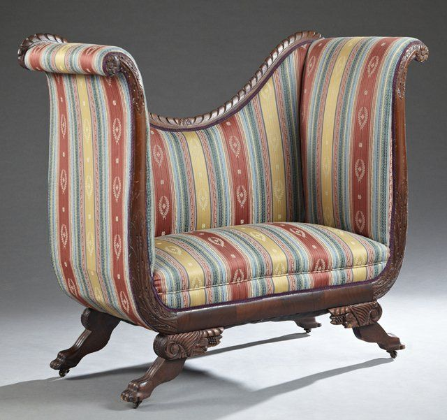Unusual American Empire Style Carved Mahogany High Back Settee   Sold  550    Empire FurnitureFurniture ChairsAntique. 215 best Antique Furniture and Antique Things images on Pinterest