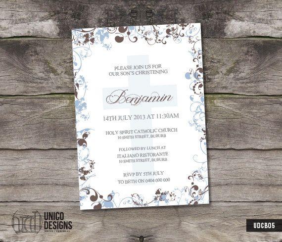 Christening Invitation Printable / Boy by UnicoDesignsInvites