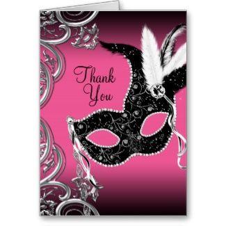 TWEEK pink Masquerade Party Mask invites,