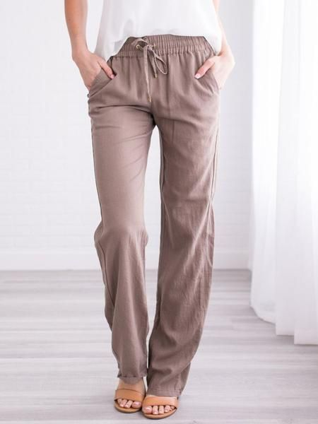 Casual Solid Casual Summer Pants Plus Size Pants Bottoms – #bottoms #casual #pan…